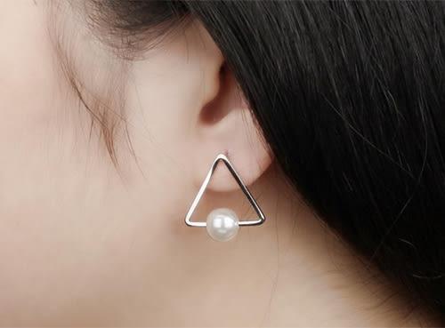 《QBOX 》FASHION 飾品【W10000310】精緻個性簡約立體三角珍珠316L鈦鋼針式耳環(銀/金/玫瑰金)