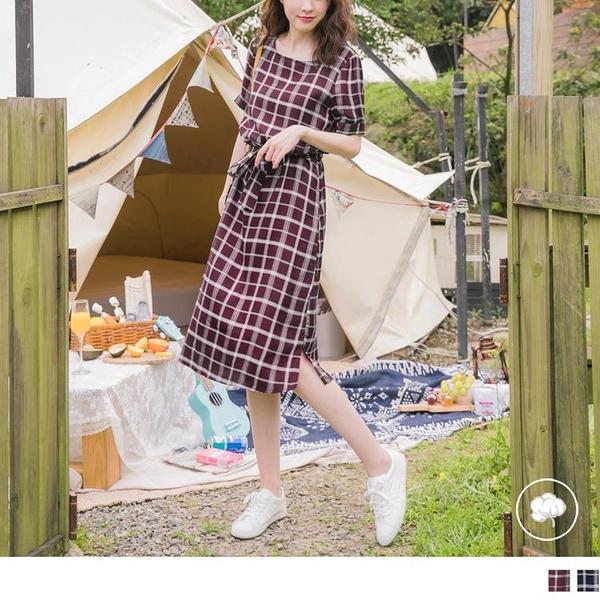 《DA6527-》小清新配色格紋下襬開衩綁帶長洋裝 OB嚴選
