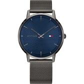 【台南 時代鐘錶 Tommy Hilfiger】1791656 時尚格紋 米蘭錶帶男錶 40mm 藍/灰 公司貨保固2年