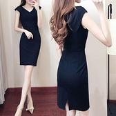 2020夏季女裝高端無袖小黑裙氣質中長款職業裙修身顯瘦包臀連身裙