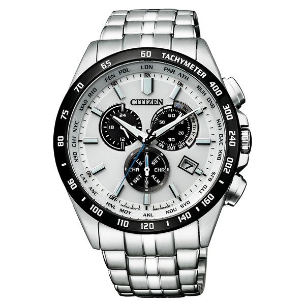 CITIZEN GENT'S光動能起程追風三眼腕錶-銀X白