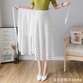 一片式半身裙女2020新款夏高腰碎花波點裙子 a字長款長裙雪紡裹裙
