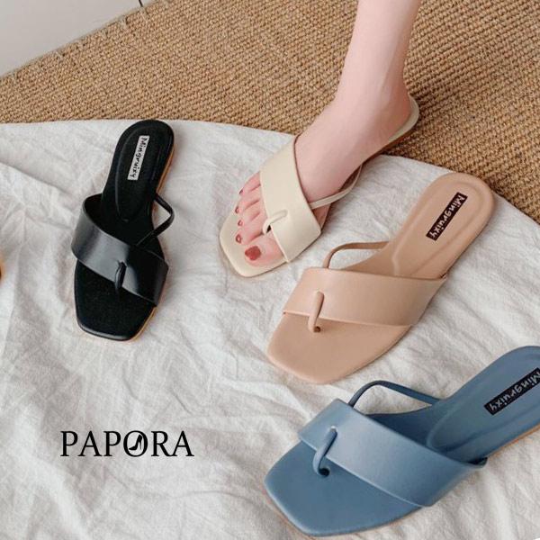 PAPORA夾腳平底涼拖鞋KQ315黑/米/綠/藍/粉
