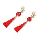新年耳飾 喜慶新年紅色雙囍耳釘中國風適合過年的耳環結婚新娘氣質耳飾【快速出貨八折鉅惠】