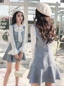 小個子初秋季早秋裝2020年新款女裝潮流洋裝子超仙套裝假兩件套 俏girl