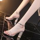 法式一字帶涼鞋女粗跟仙女風2021年新款透明水鑚網紅高跟水晶鞋夏【快速出貨】