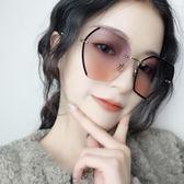 多邊形切邊鏡片太陽鏡女士圓臉 個性無框金屬墨鏡漸變灰防紫外線