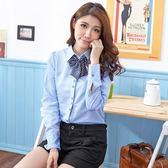 襯衫--圓點造型配釦附蝴蝶領結長袖襯衫(白.藍S-3L)-I73眼圈熊中大尺碼◎