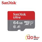 【聖影數位】SanDisk Ultra microSDXC 64GB 記憶卡(無轉卡) TF 120MB/s Class10 U1 A1【公司貨 10年保】SDSQUA4