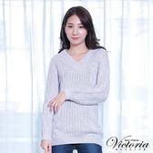 Victoria 織紋變化拉克蘭長袖線衫-女-淺灰混白紗