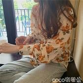 熱賣垂感襯衫不易皺 2021新款韓版垂感翻領碎花雪紡襯衫女外穿百搭寬鬆長袖氣質上衣 coco