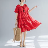 文藝洋裝 2019夏裝新款文藝複古寬鬆中長款印花遮肚子顯瘦棉麻大擺洋裝女