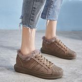 真皮板鞋女  韓版運動鞋 繫帶 保暖 真皮休閒鞋 /3色-標準碼-夢想家-1024