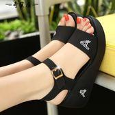 涼鞋坡跟平底鬆糕鞋厚底防滑百搭女士涼鞋