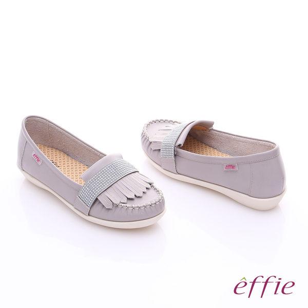 effie 縫線包仔鞋 牛皮流蘇水鑽織帶奈米休閒鞋  灰