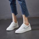真皮小白鞋 低幫平底鞋 休閒板鞋/2色-...