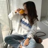 棉麻上衣外套  秋季韓版寬鬆學生百搭印花長袖套頭衛衣新款女裝圓領休閒上衣    都市時尚
