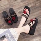 厚底拖鞋 泰國人字拖女外穿時尚防滑坡跟高跟厚底涼拖民族風沙灘拖鞋夏季潮 韓菲兒