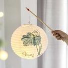 紙燈籠吊燈發光led小手提燈仿古中國風元宵漢服燈籠古風燈罩新年 怦然心動