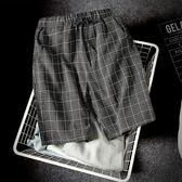 短褲男青年夏天韓版潮運動修身夏季格子沙灘褲五分休閒薄款男褲子【完美生活館】