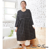 【Tiara Tiara】百貨同步aw 經典格紋高腰長袖洋裝(黑)