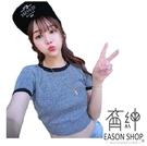 EASON SHOP(GW0789)韓版簡約撞色拼接短版露肚臍圓領短袖針織衫女上衣服彈力貼身內搭衫顯瘦修身黑色
