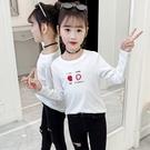 衣童趣(•‿•)韓版女童T恤 純色草帽T恤 條紋櫻桃薄款長袖 秋冬內搭上衣