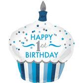 73*91cm鋁箔氣球(不含氣)-1歲杯子蛋糕藍