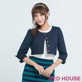 RED HOUSE-蕾赫斯-素面蝴蝶結短版外套 (深藍色)
