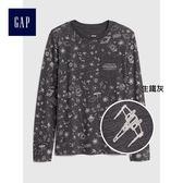 Gap男童 星際大戰系列舒適印花長袖T恤 395979-生鐵灰