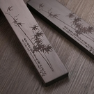 紅木鎮紙書法用品 黑檀木雕刻竹子鎮尺 實...