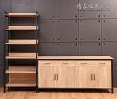 【德泰傢俱工廠】格萊斯原切木工業風收納展示架+6尺餐櫃 B001-701+706-B