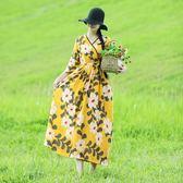 寬鬆顯瘦棉麻交領文藝撞色腰間系帶仙女裙旅行款洋裝連衣裙