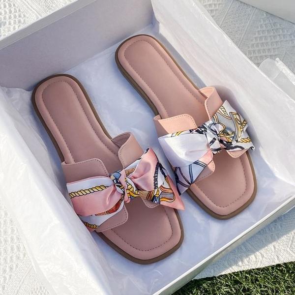 拖鞋女 2021新款蝴蝶結拖鞋女夏外穿時尚ins潮平底網紅爆款涼拖鞋仙女風【快速出貨】
