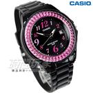 CASIO卡西歐 LX-500H-1B 潛鑽女王簡潔時尚風指針日曆腕錶 黑X桃紅框 女錶 LX-500H-1BVDF