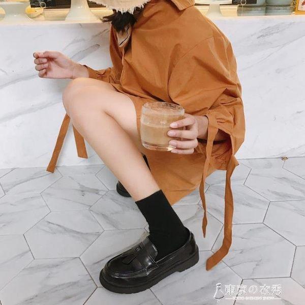 夏英倫風休閒小皮鞋學院風復古女鞋牛津平底復古單鞋流蘇樂福鞋 【東京衣秀】