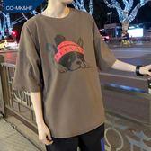 短袖T恤港風短袖T恤男韓版潮學生寬鬆男士原宿風中袖五分袖 【免運】