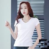 素色V領短袖T恤女裝修身緊身半袖上衣夏季【左岸男裝】