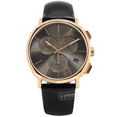 CK / K8Q376C3 / 紳士簡約 三眼計時 日期 夜光 瑞士製造 皮革手錶 鈦色x玫瑰金框x黑 42mm