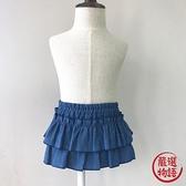 【日本製】日本製 褶邊 8oz DENIM 燈籠短裙 藍色 SD-1796 -