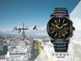 【時間道】agnes b. HOMME經典三眼計時腕錶/黑面金刻黑鋼(VD53-KP30G/BT3033X1)免運費