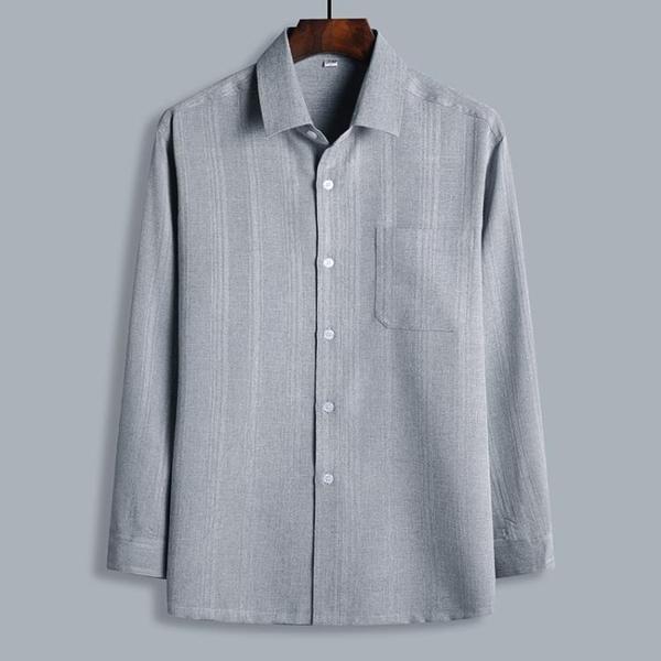 老年人襯衫男長袖棉麻 爸爸裝春夏新款上衣寬鬆大碼免燙爺爺襯衣 幸福第一站