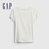 Gap女童 甜美花邊短袖針織T恤 670498-白色