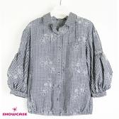 【SHOWCASE】格紋繡花七分澎澎袖縮襬襯衫(黑)