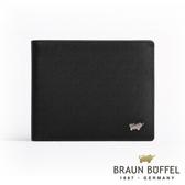 【BRAUN BUFFEL】德國小金牛HOMME-M系列極光紋4卡零錢袋皮夾(黯黑)BF306-315-BK
