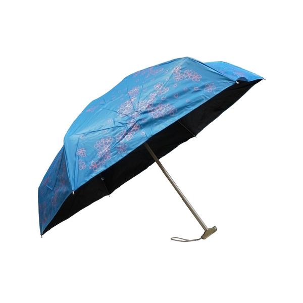 雨傘 陽傘 萊登傘 短傘 抗UV 超短五折傘 扁傘 旅行傘 黑膠傘 色膠傘 Leotern 櫻花 (海藍)