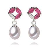 珍珠耳環 925純銀-8-9mm水滴型鑲粉色鋯石生日情人節禮物女飾品73lw20【時尚巴黎】