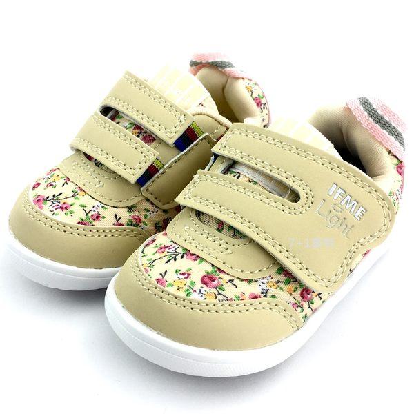 《7+1童鞋》小童 日本 IFME 透氣布面 小花 輕量 寬版魔鬼氈 學步鞋 機能鞋 C425 米色
