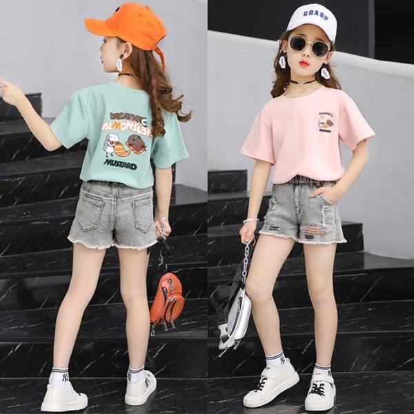童裝夏裝女童套裝2021新款洋氣中大童女孩韓版休閒兒童短袖兩件套 維多原創