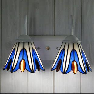 設計師美術精品館特價直銷蒂凡尼玻璃燈飾 地中海雙頭壁燈 床頭 餐廳 鏡前燈燈具